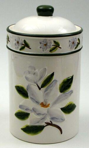 "Ceramic Magnolia Floral Design Cookie Jar Container Canister Kitchen Decor 9/"""