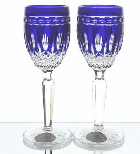 Glass Ajka Clarendon Cobalt Blue Cut To Clear Crystal Wine Cordial Liqueurs New Signed Attractive Designs;