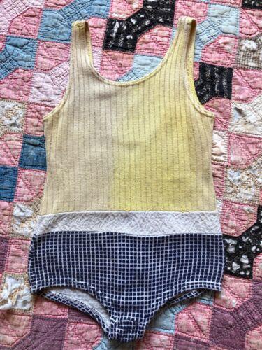 Antique 1930s Yellow & Blue Cotton Knit Swimsuit B