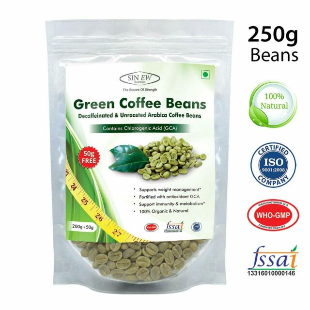 Green Coffee Beans Decaffeinated Unroasted 250g Sinew Nutrition