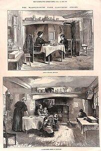 1872-Warwickshire-Farm-Labourers-Strike-Barford-Whitnash-Antique-print-Genuine