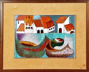 PAYSAGE-VILLAGE-CHIVA-VALENCE-EMAILLE-CERAMICS-PUIGMARTI-XXE-SIECLE