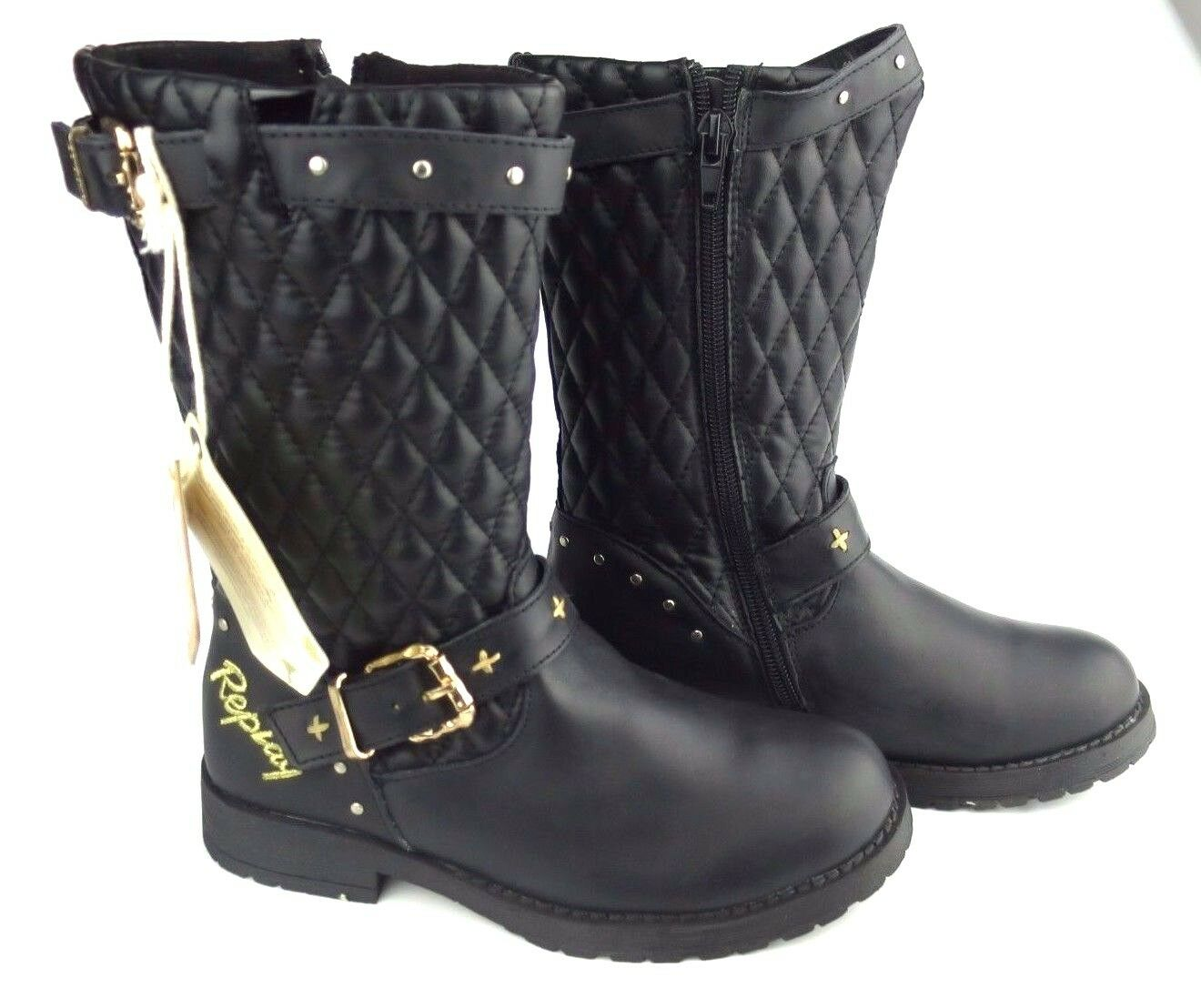 Replay Leicester Chaussures Femmes Cuir Chaussures Leicester Fille Bottes Woman Boots Noir 7ba41b