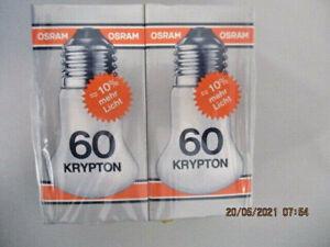Osram KRYPTON 60   Glühlampe  E27 220-235V Dimmbar  2 STÜCK  (B_L13#1)