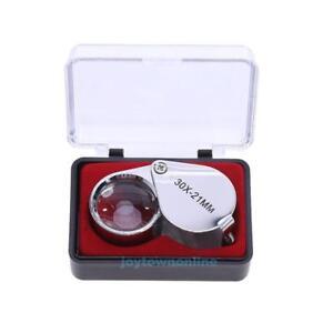 30X21mm-Fach-Lupe-Juwelier-Labor-Vergroesserungsglas-Uhrmacher-Glas-Mikroskop