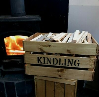 Wooden Rustic Vintage Style Kindling Firewood Log Storage Box Crate Home