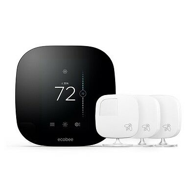 ecobee3 Smarter Bundle Wi-Fi Thermostat w/ 5 Sensors - HomeKit enabled. ON SALE!