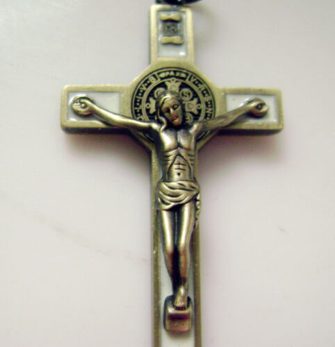 "SMALTO Bronzo Antico CROCIFISSO 1.65 /""GESU /'CROCE rosario pendente cattolico"