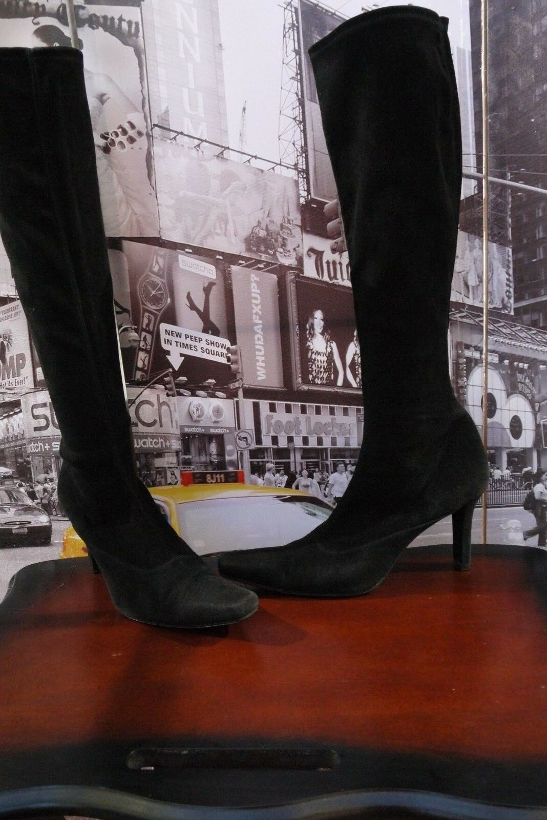 740 Stuart Weitzman jefe elástico dedo del pie cuadrado cuadrado cuadrado Tacones De Gamuza botas Negro 10 M    lo último  popular