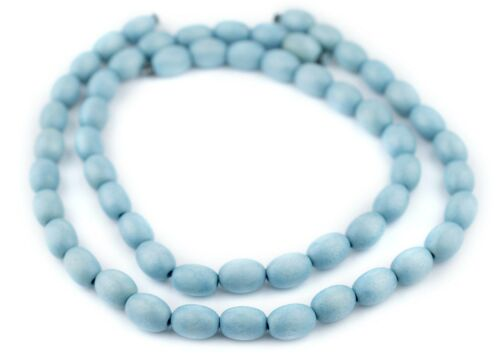 Light Blue Oval Natural Wood Beads 15x10mm Large Hole 16 Inch Strand