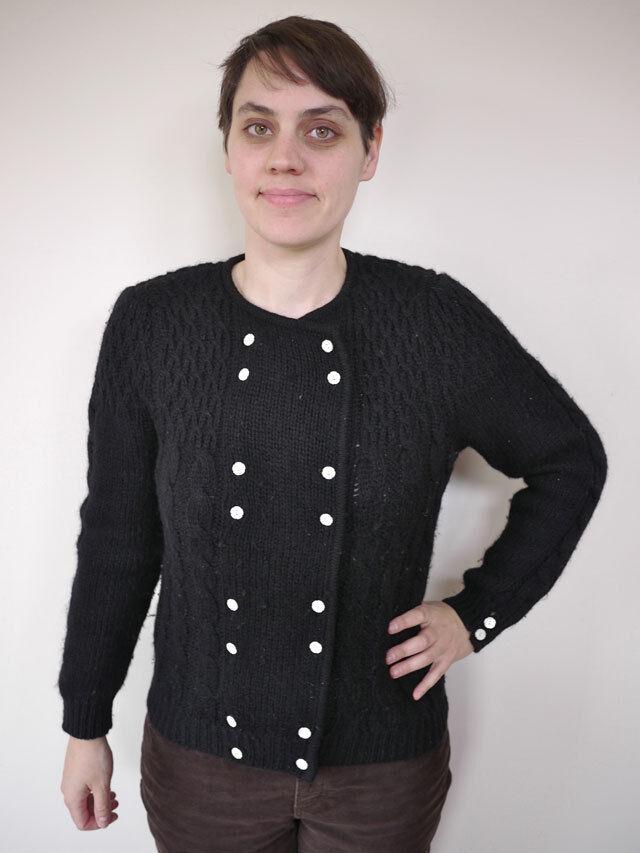 Vintage 1980s ROBERT SCOTT Scottish SHETLAND WOOL Cable Knit Sweater CARDIGAN 34