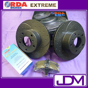 RDA DIMPLED SLOTTED FRONT DISC BRAKE ROTORS PADS for Ford BA FPV GT F6