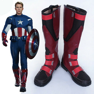 Hot Superhero Captain America Cosplay boots Shoes Made Free Shipping