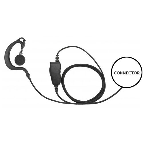 1-Wire D-Ring Headset Microphone Inline PTT for Hytera TC320 Two Way Radios