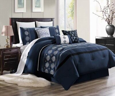 New Chic Modern Embroidery Silver Grey Pattern Bedroom Navy Blue