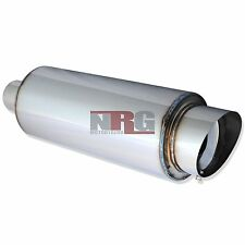 4 inch outlet slant tip Universal Stainless Exhaust Muffler 2.5 inlet Fireball 2