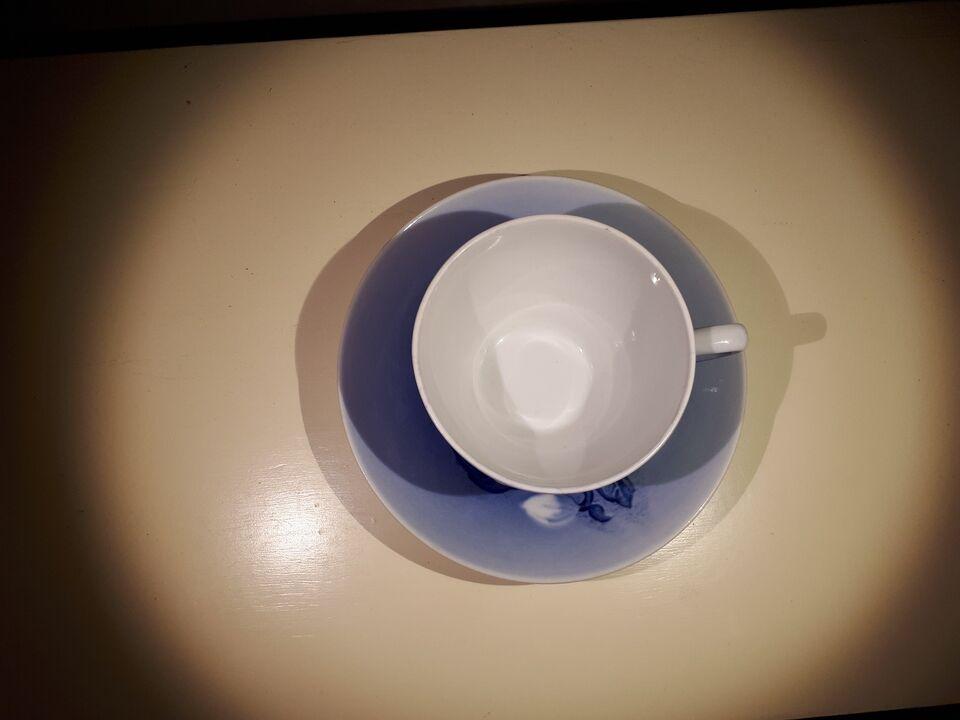 Porcelæn, Julerose tekop + underkop, Bing & Grøndahl