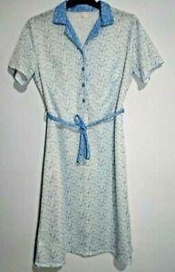 Button-Front-Kleid-Vintage-blau-weiss-Kreise-Geometrische-Drucken-Kontrast-Kragen