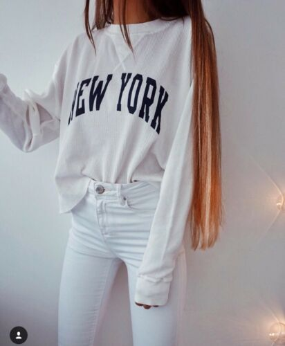 New Brandy Melville White Waffle long sleeve Laila New York thermal top NWT