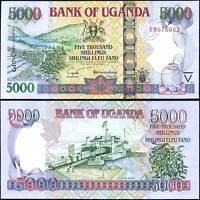 UGANDA 5000 5,000 SHILLINGS 2004 P 44 UNC