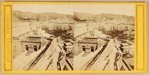 Italia-Genoa-Il-Port-c1865-Foto-Stereo-Vintage-Albumina