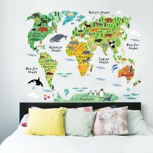Animals world map kids room wall decal 3d reusable large stickers image is loading animals world map kids room wall decal 3d sciox Images