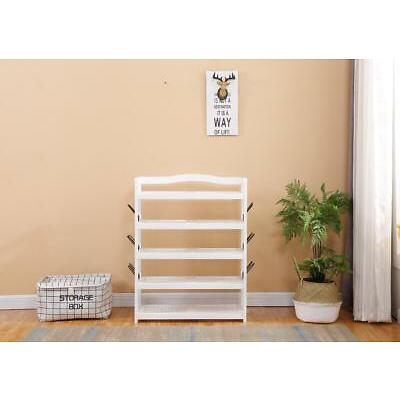 5 Tier Wooden Shoe Rack Storage Shelf Cabinet Stand Organize Footwear White/Grey