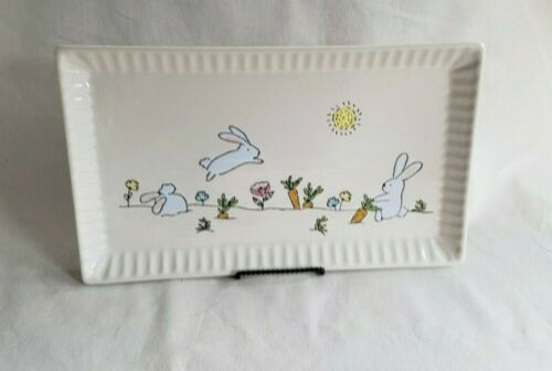 """TAG Whimsical Easter Tray Platter Bunny Rabbits Spring Ceramic 15/"""" x 9/"""" NWOT"""