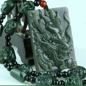 Yang green dry blue square pendant jade pendant Natural jade necklace pendant