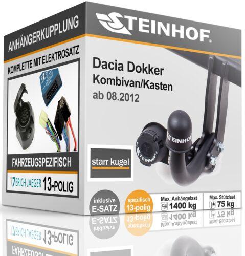 Anhängerkupplung fest Für Dacia DOKKER ab 08.2012+E-SATZ 13p SPEZIFISCH