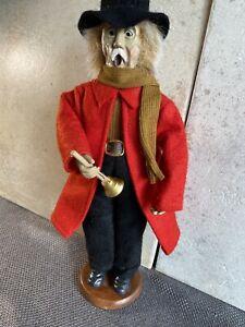 Decorative Clothed Doll Caroler Singing Man Wood Base Vintage Christmas Figure