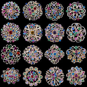Lot-16-pc-Mixed-Vintage-Style-Golden-Rhinestone-Crystal-Brooch-Pin-DIY-Bouquet