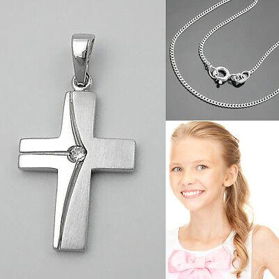 Kinder Kreuz Anhänger Zirkonia zur Taufe Kommunion Firmung mit Kette Silber 925