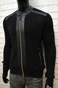 REPLAY-Uomo-Maglione-Nero-con-Zip-Taglia-M-Pullover-Felpa-Cardigan-Sweater-Men-039-s