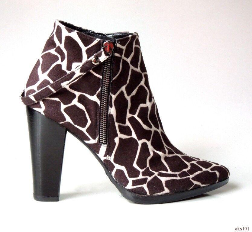 New  525 STUART WEITZMAN giraffe-print brown suede double zipper ANKLE BOOTS 7.5