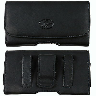 Leather Belt Clip Case Holster for Cell Phones fits WITH OTTERBOX DEFENDER ON IT