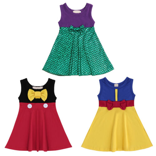 Toddler Baby Girls Snow White Mickey Mouse Mermaid Cosplay Birthday Party Dress