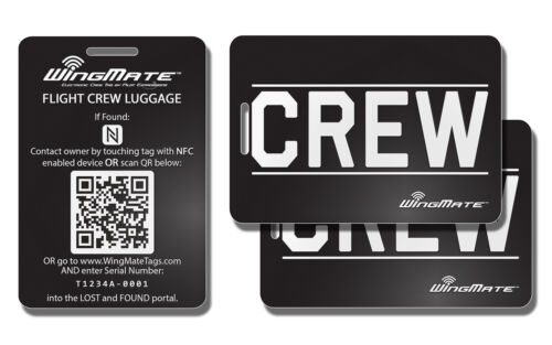 Pack of 3 Passive Tracking Smart Luggage Tag by WingMate CREW Tag Black//White