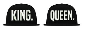 Coole-Partner-Parchen-034-KING-amp-QUEEN-034-Snapback-Cap-blondie-brownie-bff-mr-mrs-xo