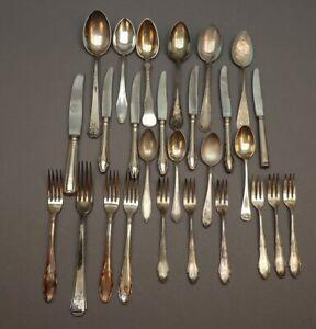 Konvolut Silberbesteck - meist Silber 800 - 27 Teile - verschiedene Dekore - S6
