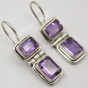 925-Sterling-Silver-NATURAL-AMETHYST-MADE-IN-INDIA-LARGE-Earrings-1-1-8-034