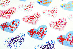 Colourful Happy Birthday Hearts Stickers Heart Labels For Cards Gifts