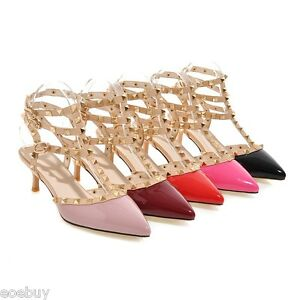 7f08afc4bd8 Details about Women's Kitten Heel Pointed Shoes Studded Pumps Ankle Strap  Sandals UK Size G115