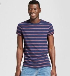 Goodfellow-amp-Co-Blue-amp-Red-Stripe-Mens-T-Shirt-Tee-Size-Large-NWT