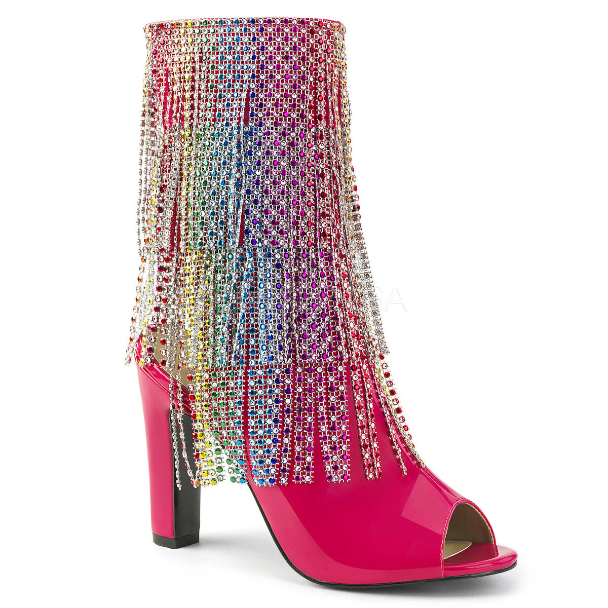 Sexy 4  Heel Hot Pink Ankle High Boots w Simulated Rhinestone Fringe QUEEN100 HP