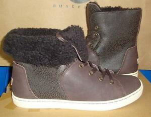 4aad54c54c0 Details about UGG CROFT Chocolate Bomber Sheepskin Ankle Boot Sneakers Size  US 8.5 NIB 1009213
