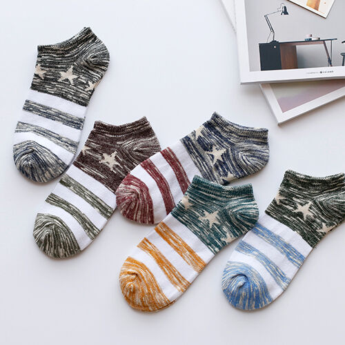 5 Pairs Cool Men/'s Boat Crew Socks Casual Short Ankle Cotton Blend Summer Fall