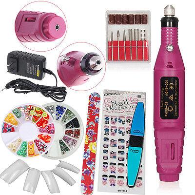 Acrylic PINK Nail Art Drill KIT Electric FILE Buffer Bits Portable Salon Machine