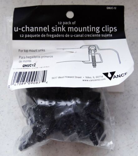 NEW Vance U-Channel Sink Mounting Clips 12-Pack QNUC-12 Top-Mount Sinks