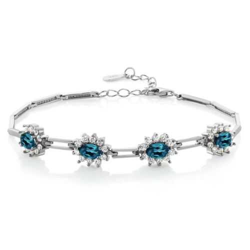 "4.20 Ct Oval London Blue Topaz 925 Sterling Silver Bracelet 7/"" with 1/"" Extender"
